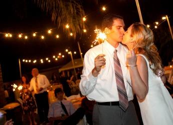 Fun Los Angeles Backyard Wedding with Sparklers