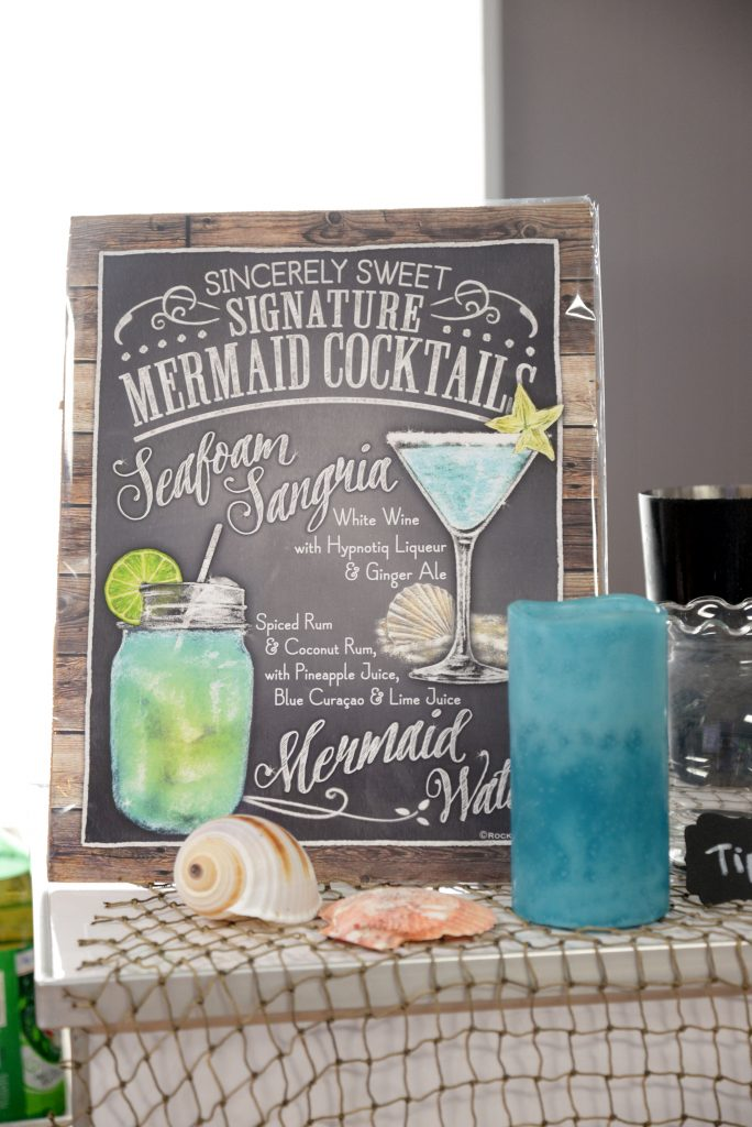 Mermaid signature cocktails: Seafoam Sangria and Mermaid Water