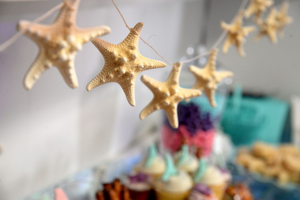 Starfish garland hanging over the stationed snacks and desserts.