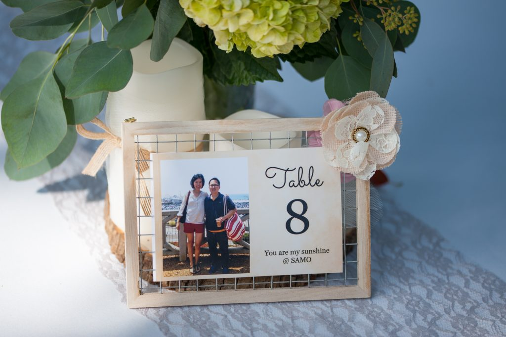 DIY rustic wood mesh wire wedding guest table number and reception menu