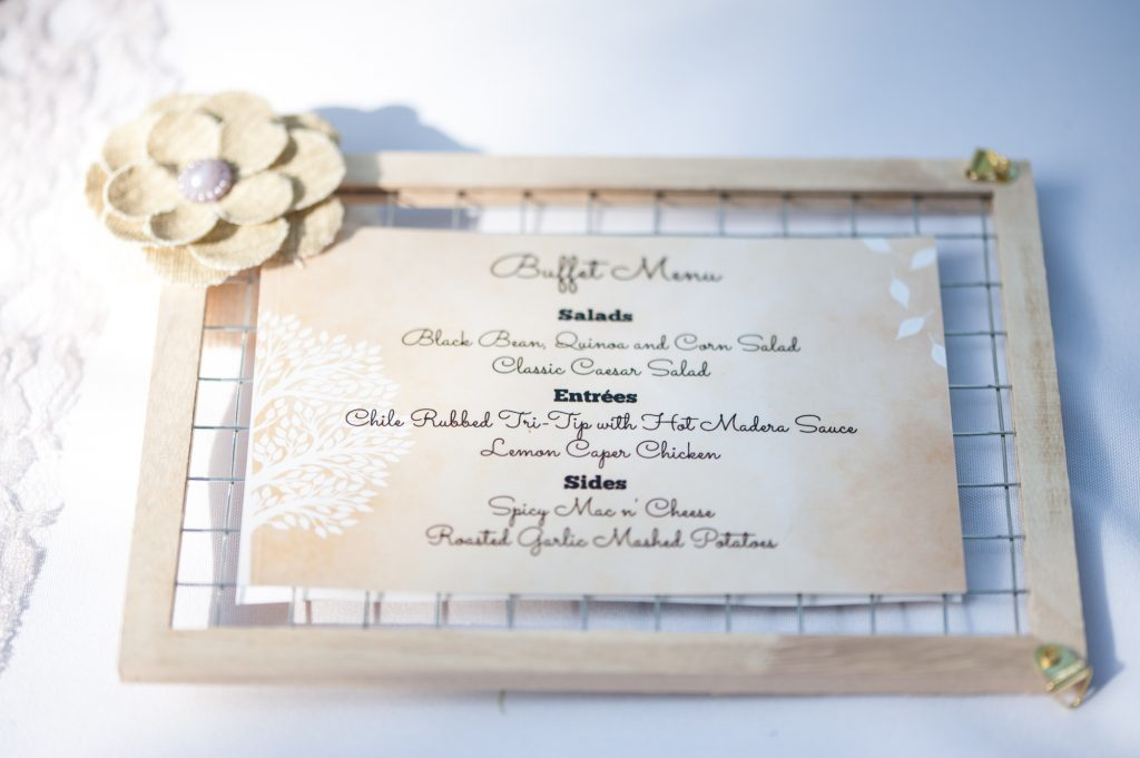 DIY wedding wood mesh wired frame reception menu sign with burlap flower accent