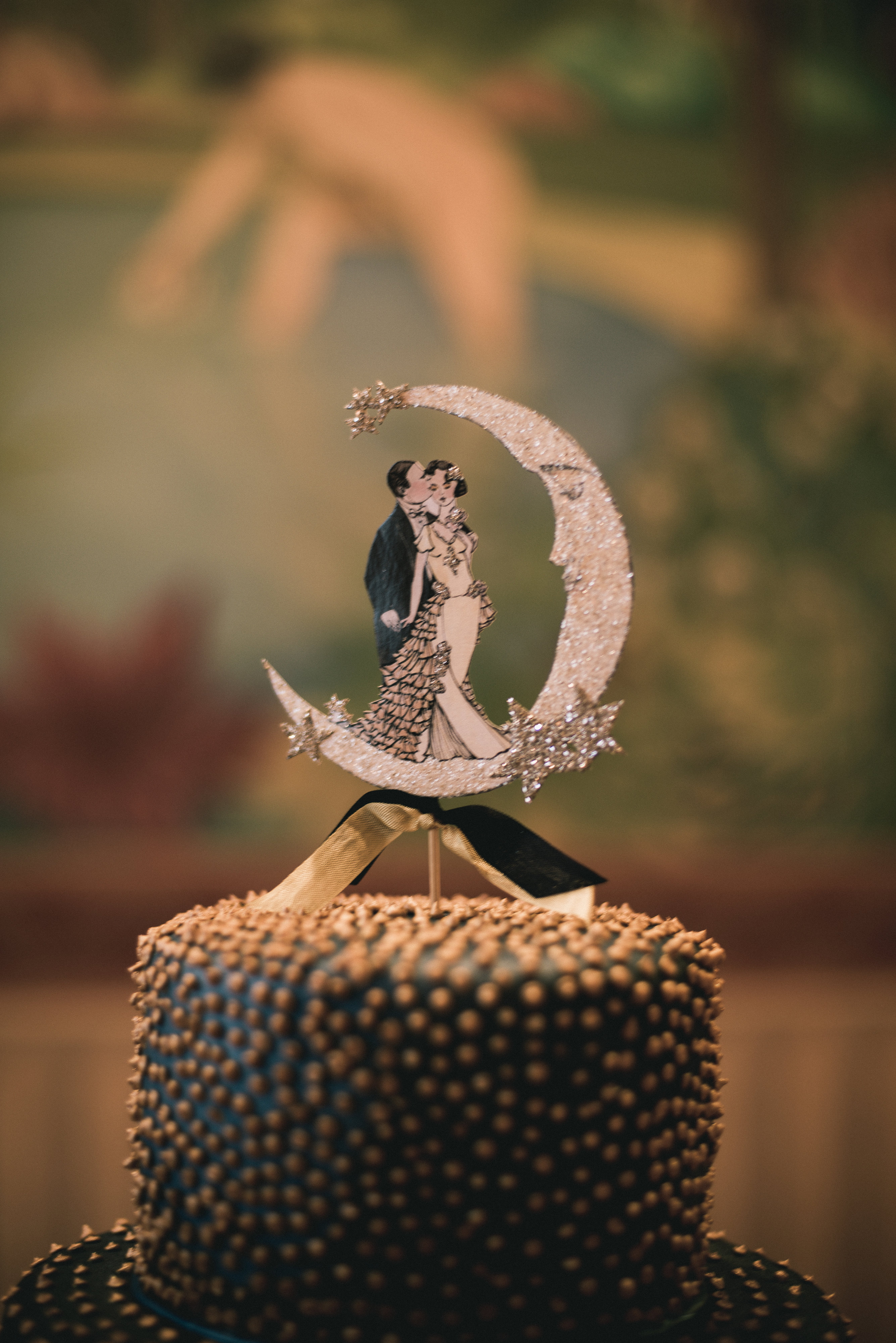 Oviatt Penthouse Wedding Cake Paper Crescent Moon Cake Topper