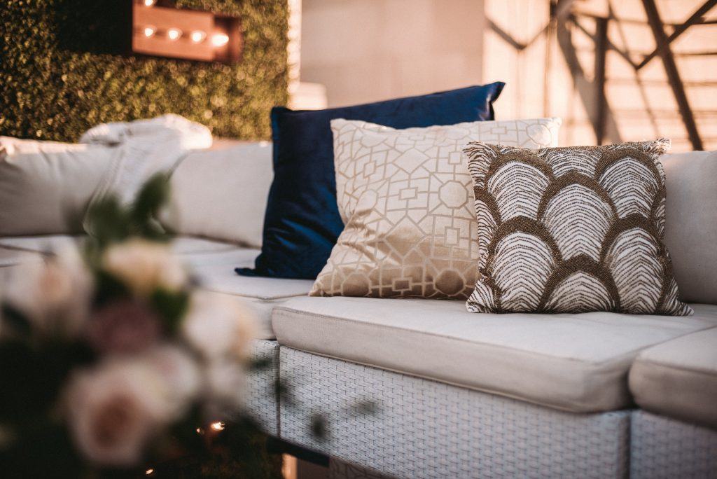 Oviatt Penthouse Wedding Rooftop Lounge area with Specialty Pillows