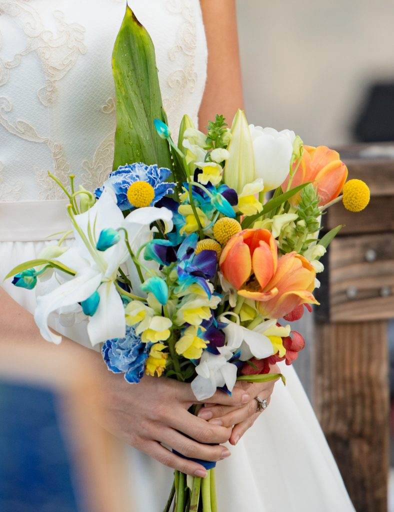 Bright color bridal bouquet inspired by abstract painting
