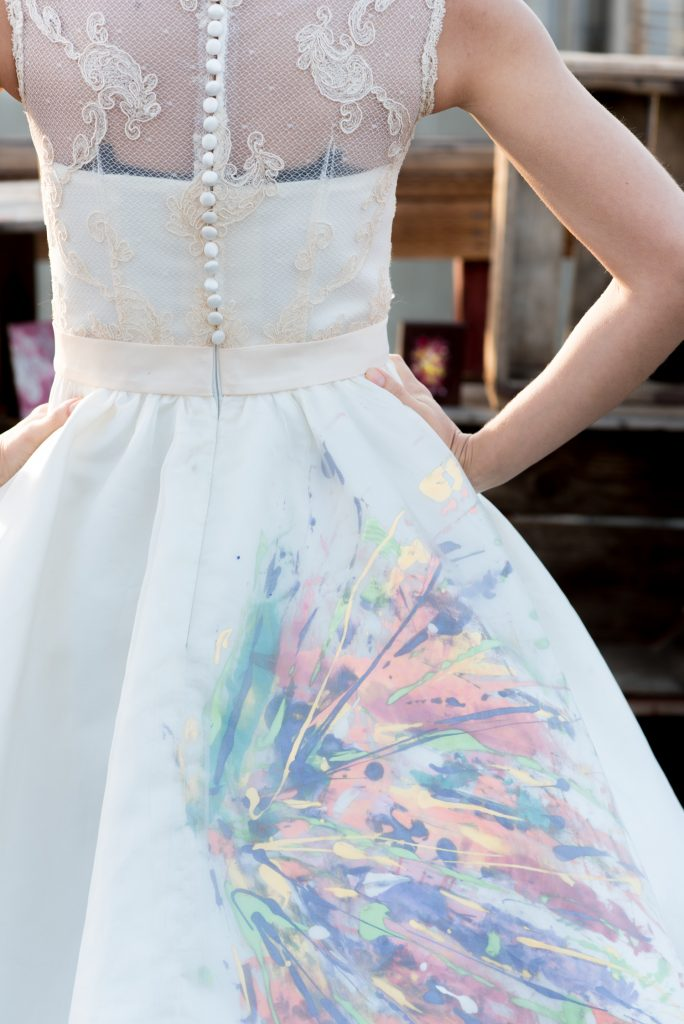 Custom painted tea length dress by the Groom a Los Angeles Artist