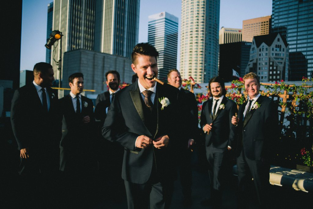 Oviatt Penthouse Wedding Groom and Groomsmen Cigar Bar