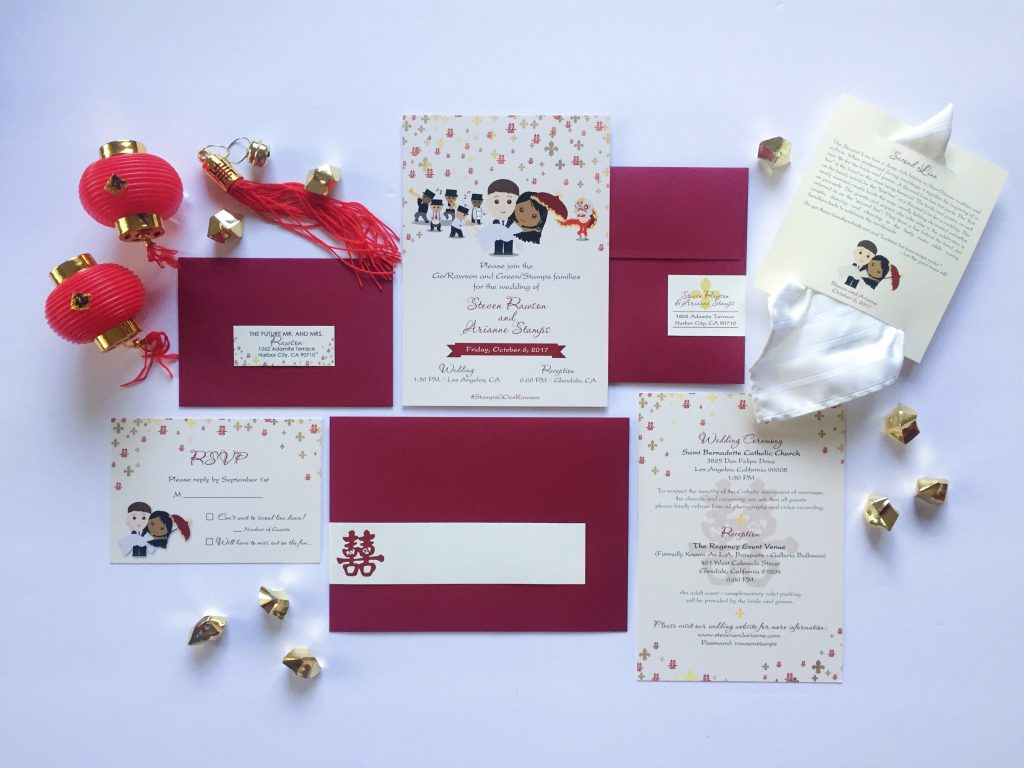 East Meets West Inspired Wedding Invitation