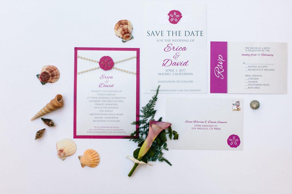 Malibu Beach Wedding Invitation Suite lLa Design Boutique Fuchsia Pearl Seashell