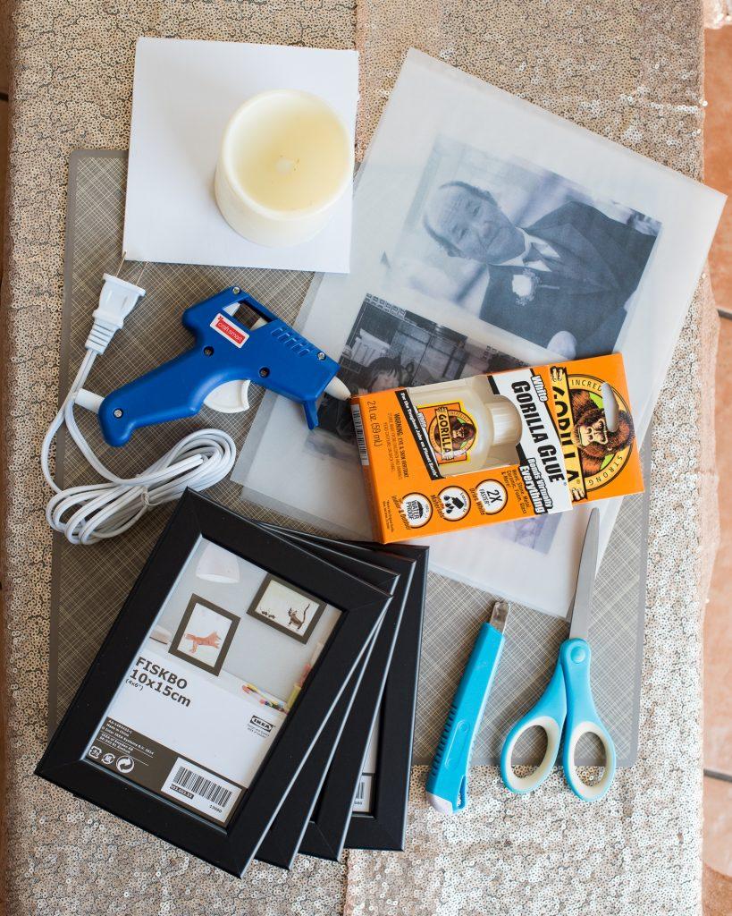 DIY Memorial Photo Luminary Tutorial Materials